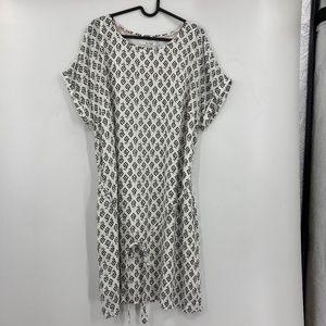Boden Tree Print Tunic Shift Midi Dress with Tie